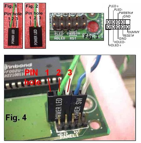 asrock > faq please remove one of the cables and insert to the middle pin hole 2 see fig 2 then please refer to fig 3 and fig 4 for the connection