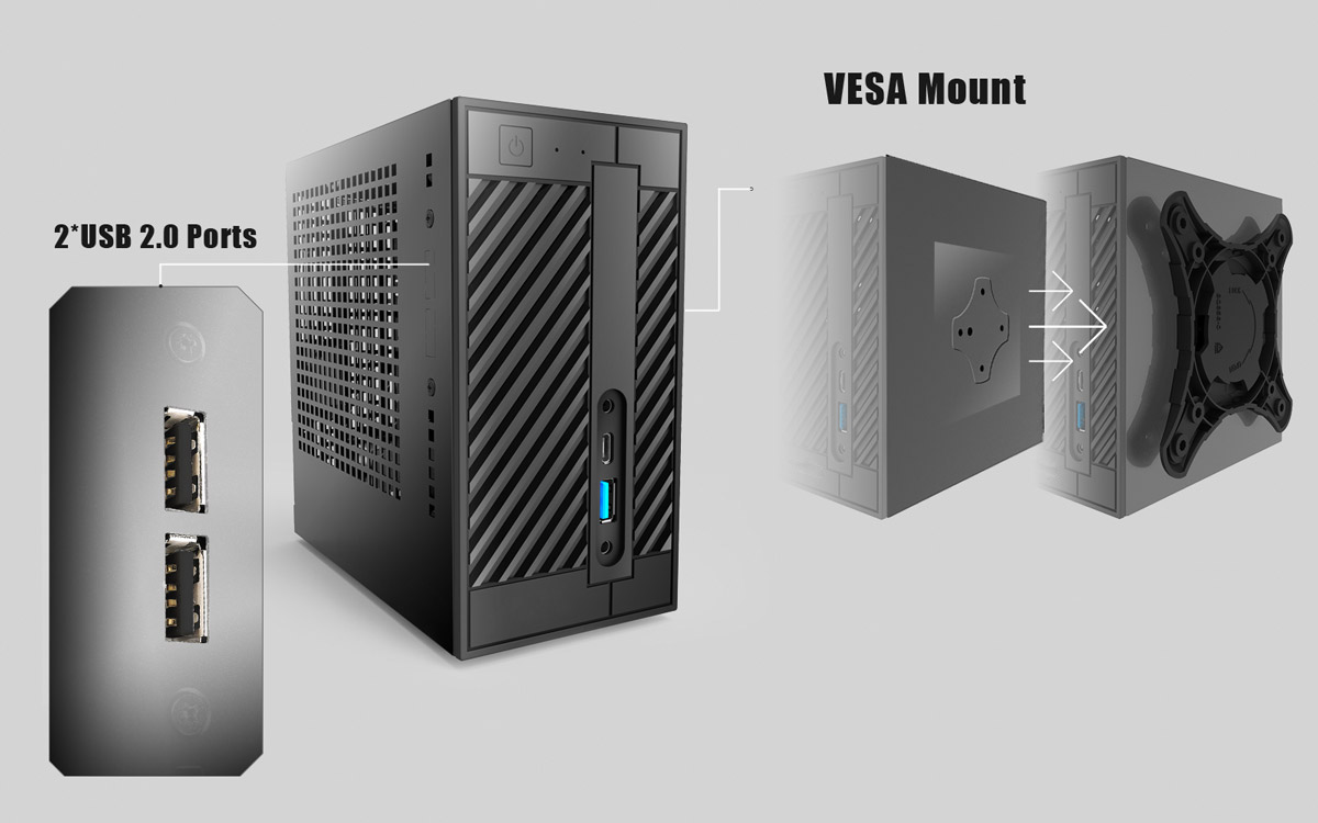 Asrock Deskmini 110 Series 32153 Pcie Wi Fi Chip An Additional Usb 20 Panel And The Vesa Mount Can Be Used On Every Model