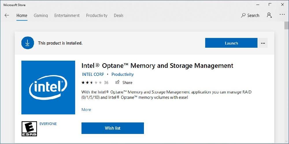 Launch Intel Optane Memory and Storage management tool