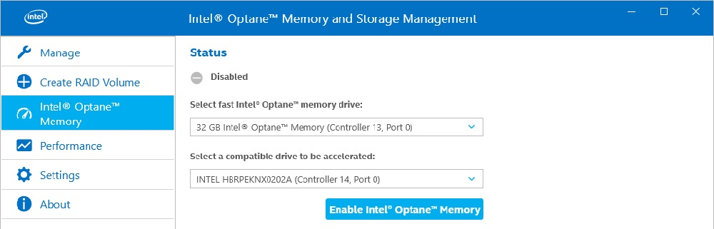 Enable Optane memory